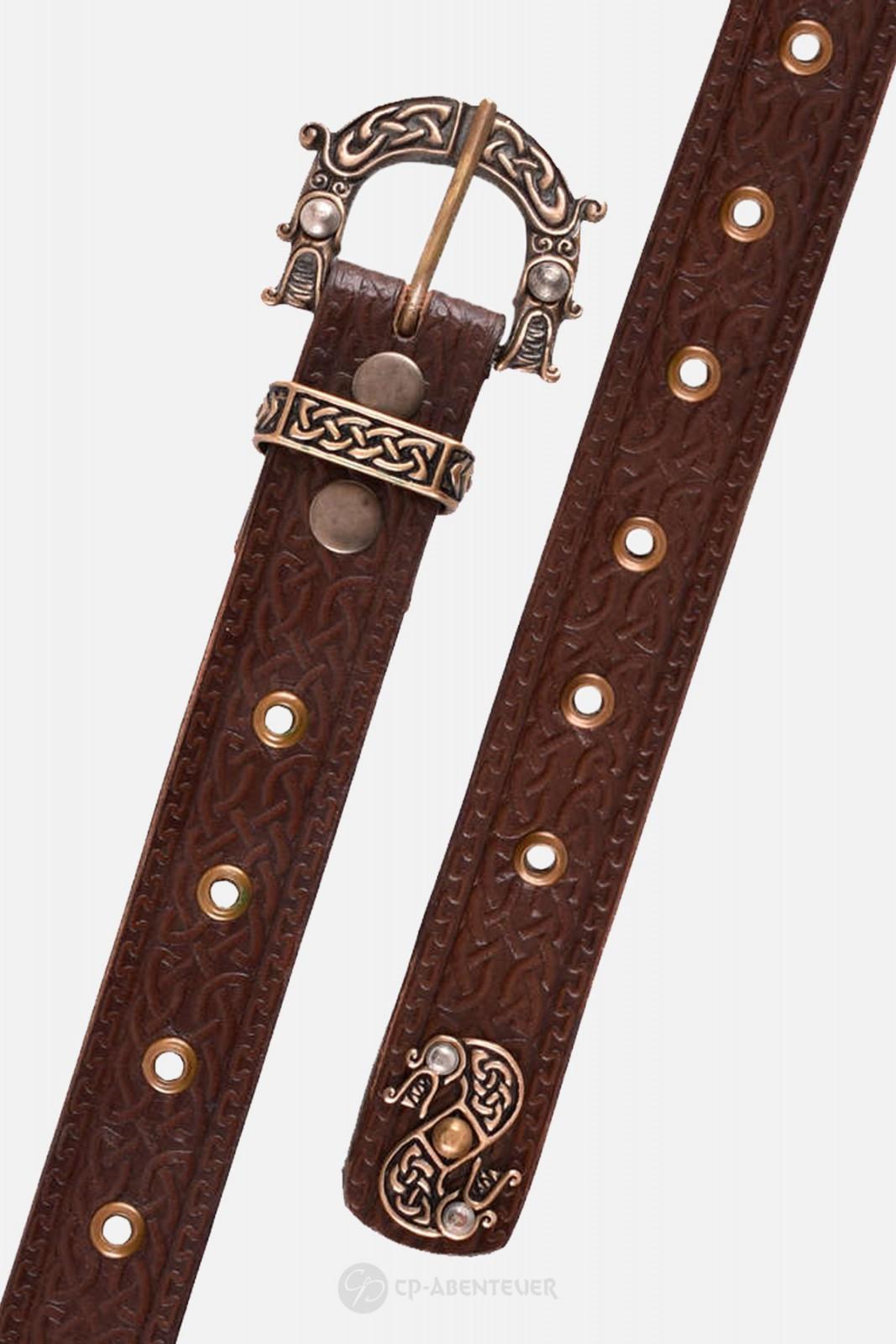 Ledergürtel mit Schnalle und Prägung in keltischem Muster, braun
